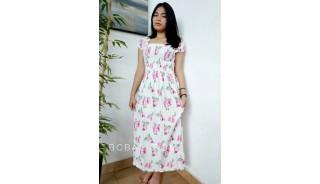 bali fashion batik rayon printing long dress patterned design flower