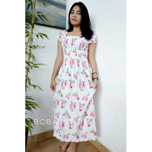 Bali Fashion Batik Rayon Printing Long Dress Patterned
