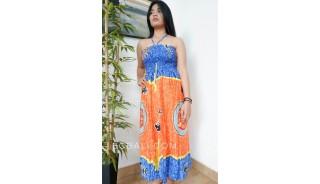 exotic hand patterned rayon painting long dress handmade bali