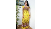 floral fabrik printing yellow clothing long dress bali batik printing
