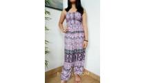 women fashion with jumpsuit hand printing rayon batik handmade