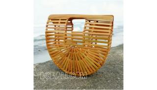 bamboo bags fan design summer season fashion handmade