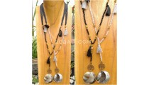 tassel necklace pendant seashells bead strand handmade