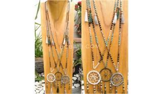 tassels necklace beads combination dream catcher pendant