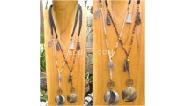 tassel necklace pendant seashells bead strand leather string