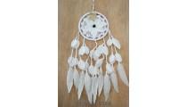 bali feather flower dream catcher crochet handmade white color