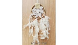 bali rattan circle handmade crochet dream catcher long feathers
