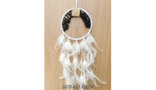 bead stone dream catcher long feather white color indonesian design