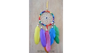 colorful dream catcher feather leather string handmade bali