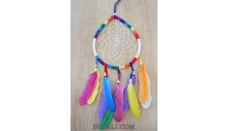 colorful dream catcher feather leather string oval handmade bali