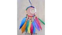 colorful dream catcher feather leather wood bead string handmade bali