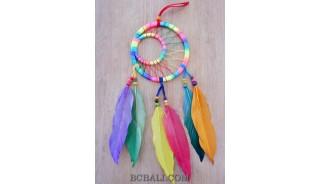 colorful dream catcher feather nylon string handmade bali