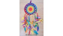 crochet dream catcher colorful rainbow feathers balinese style
