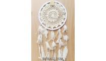 hand craft crochet dream catcher big circle long feather