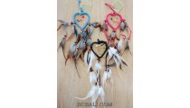 3color heard dreamcatcher peaceful feathers and leather small size