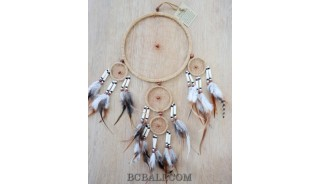 5circle dream catcher leather suede feather with cow bone handmade natural