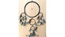 5circle dream catcher spider leather feather black color