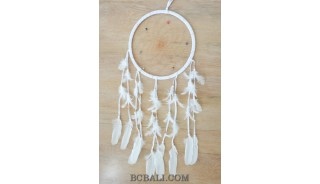 balinese handmade dream catcher white color long feather