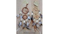 cow bone small dream catcher double circle feathers handmade