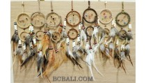 double circle dream catcher leather suede and feathers made in bali