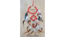 double circle leather dream catcher feather red color