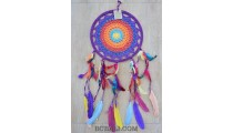 dream catcher colorful crochet handmade multiple feathers