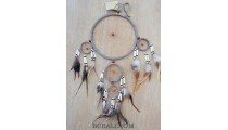 dream catcher leather triple circle spider feather with cow bone
