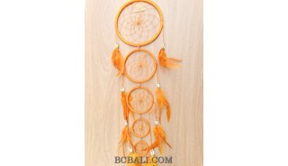 dream catcher nylon string 5circles bone wind chimes bali orange
