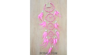 dream catcher nylon string 5circles bone wind chimes crafted pink