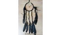 ethnic peaceful dream catcher native american feathers bone black