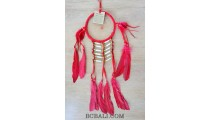 ethnic peaceful dream catcher native american feathers bone red