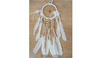 ethnic peaceful dream catcher native american feathers with bone white