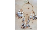 handmade dream catcher natural ethnic design multi circle beige
