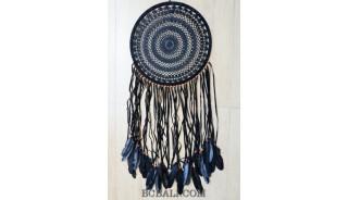 large size dream catcher crochet handmade black feather long leather