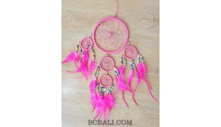 multiple circle dream catcher seeds bead feather nylon string