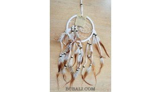 multiple feathers dream catcher with coco beads bali design natural