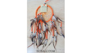 multiple feathers dream catcher with coco beads bali design orange