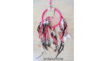 multiple feathers dream catcher with coco beads bali design pink