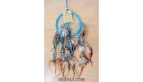 multiple feathers dream catcher with coco beads bali design turquoise