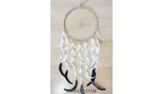 natural grass circle spider dream catcher long feather handmade