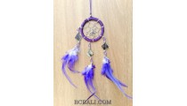 nylon string dream catcher keyrings with cutting glass blue