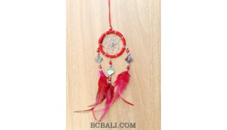 nylon string dream catcher keyrings with cutting glass red
