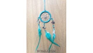 nylon string dream catcher keyrings with cutting glass turquoise
