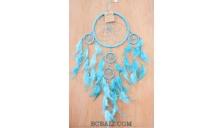 nylon string multiple feather dream catcher turquoise home wall decoration