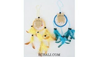 small dream catcher feathers nylon string bead bali design