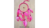 small feather dream catcher handmade balinese design pink
