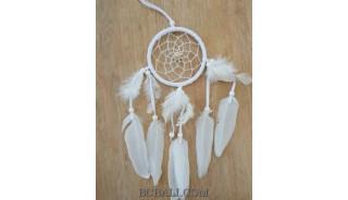 small feather dream catcher handmade balinese design white