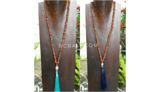 2color mala wood bead brown necklace tassels buddha prayer
