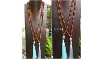 2color mala wooden bead  brown color necklace tassels buddha prayer