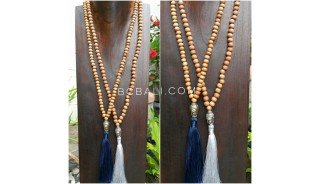 2color mala wood natural necklace tassels buddha chrome prayer